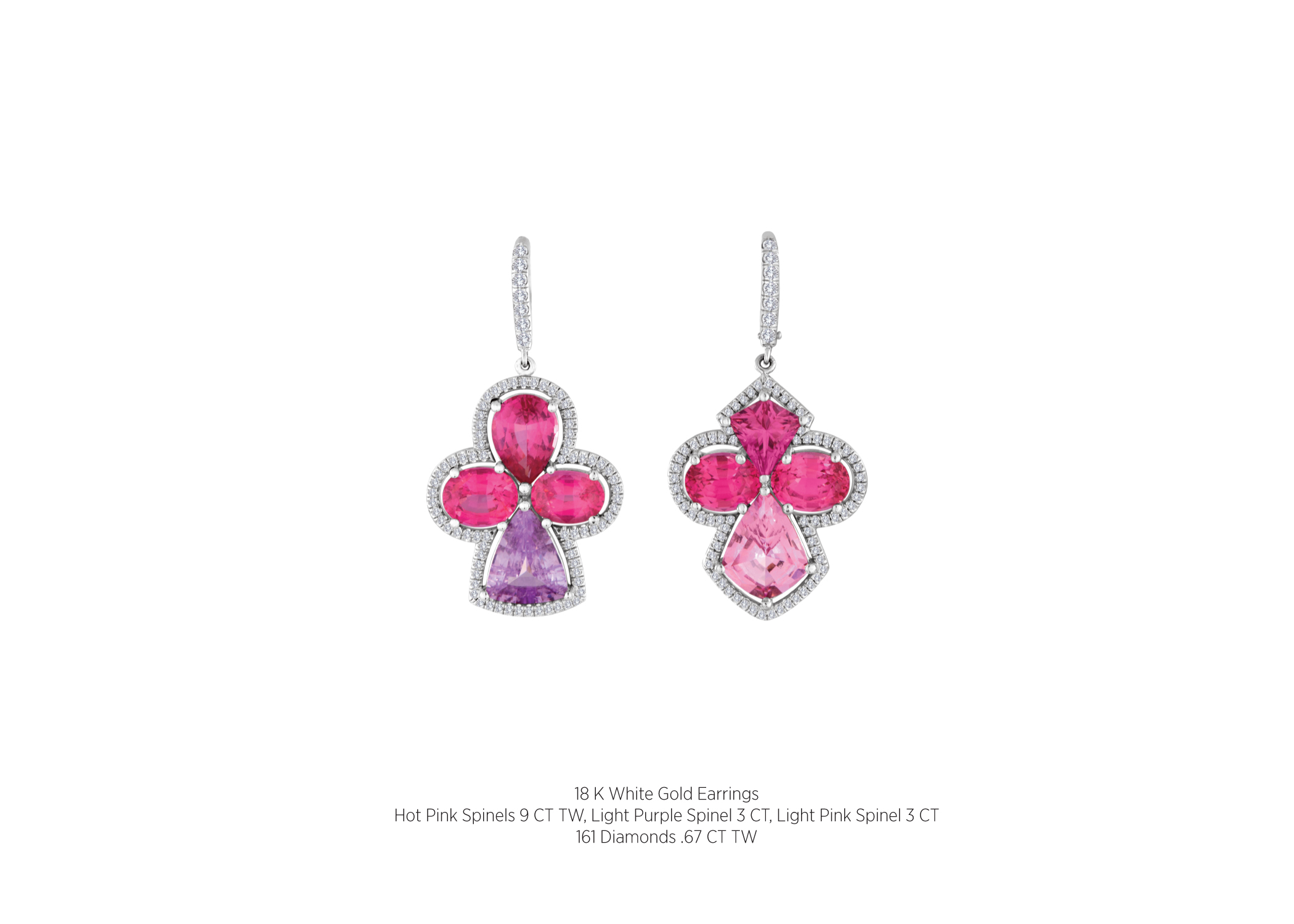 18 K White Gold Earrings Hot Pink Spinels 9 Ct Tw Light Purple Spinel 3 Ct  Light Pink Spinel 3 Ct 161 Diamonds 67 Ct Tw