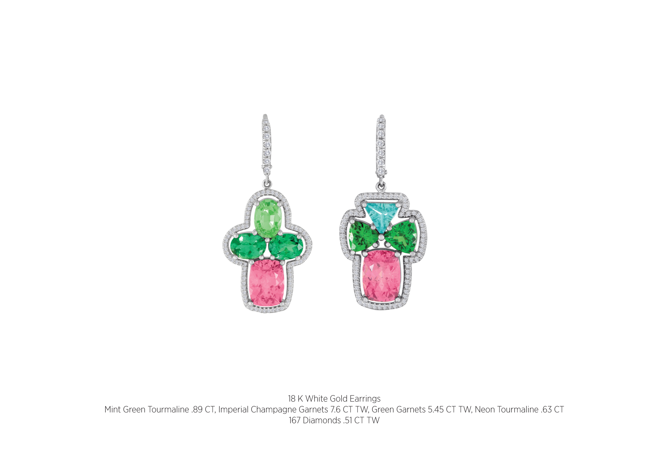 18 K White Gold Earrings Mint Green Tourmaline 89 Ct Imperial Champagne  Garnets 76 Ct Tw Green Garnets 545 Ct Tw Neon Tourmaline 63 Ct